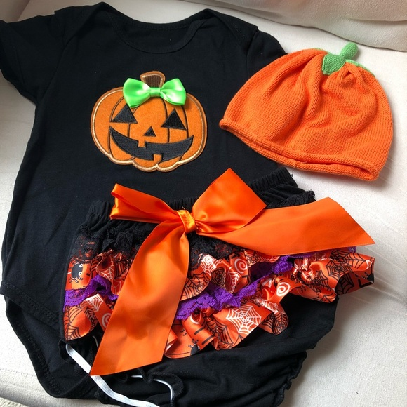 halloween onesie with diaper cover and hat